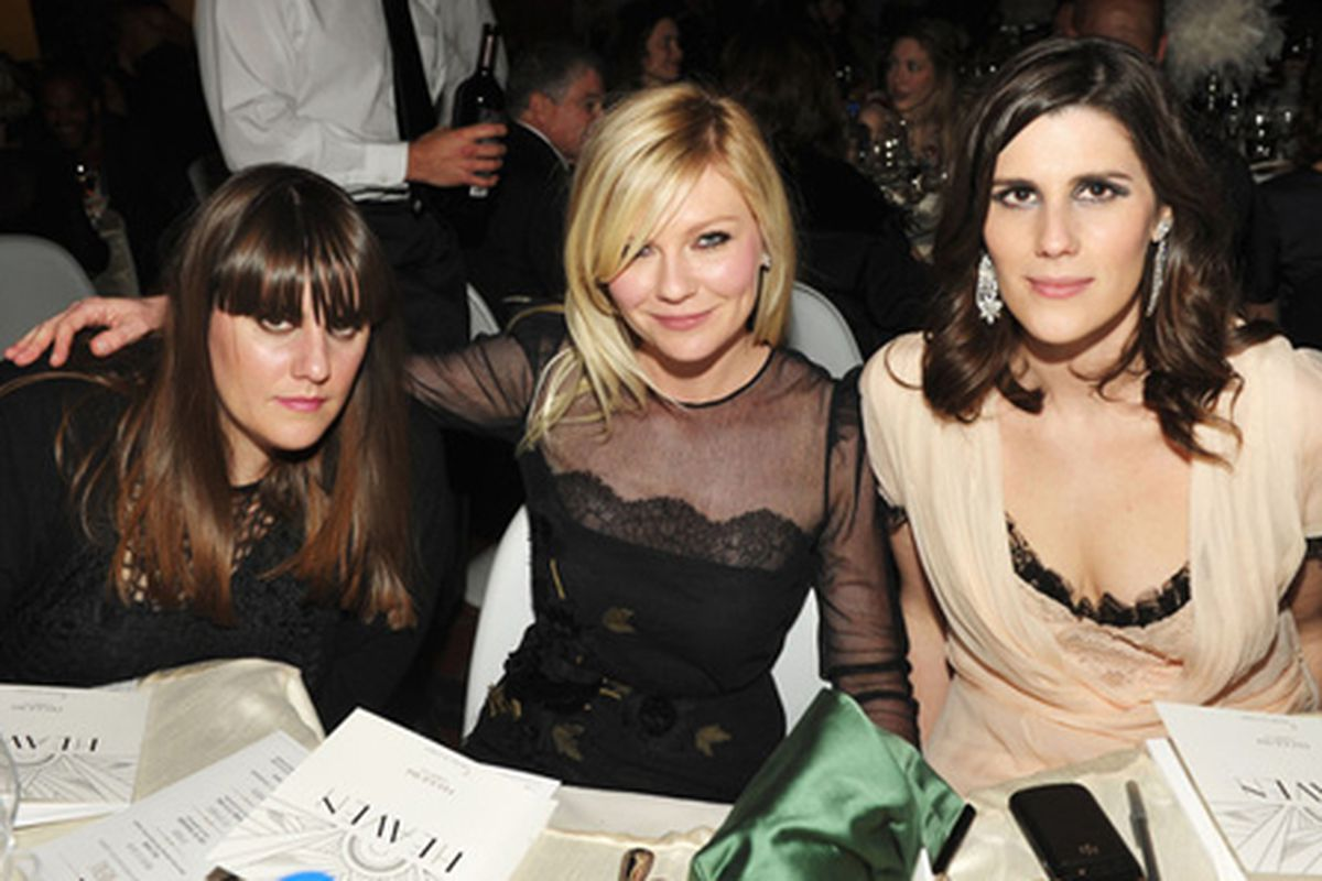 """Kate Mulleavy, Kirsten Dunst, and Laura Mulleavy. Photo via <a href=""""http://guestofaguest.com/los-angeles/events/last-nights-parties-hollywood-hits-the-town-for-a-weekend-of-non-golden-globes-events&amp;slide=2"""">Guest of a Guest</a>."""