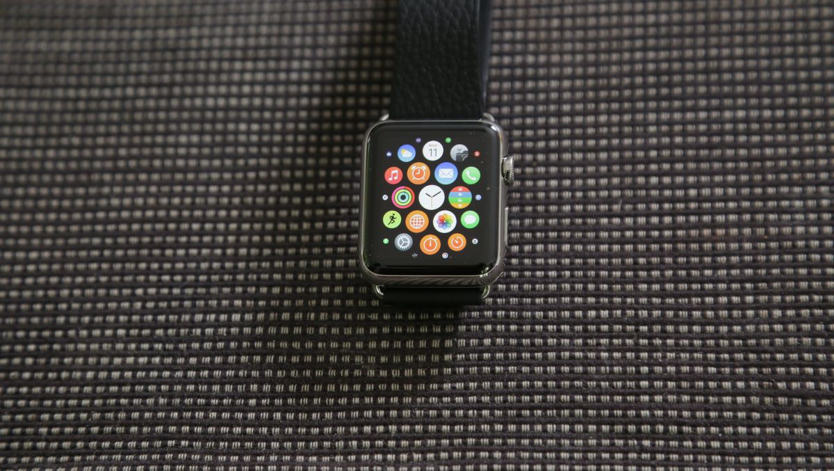 The deep black of the Apple Watch screen makes the icons pop.