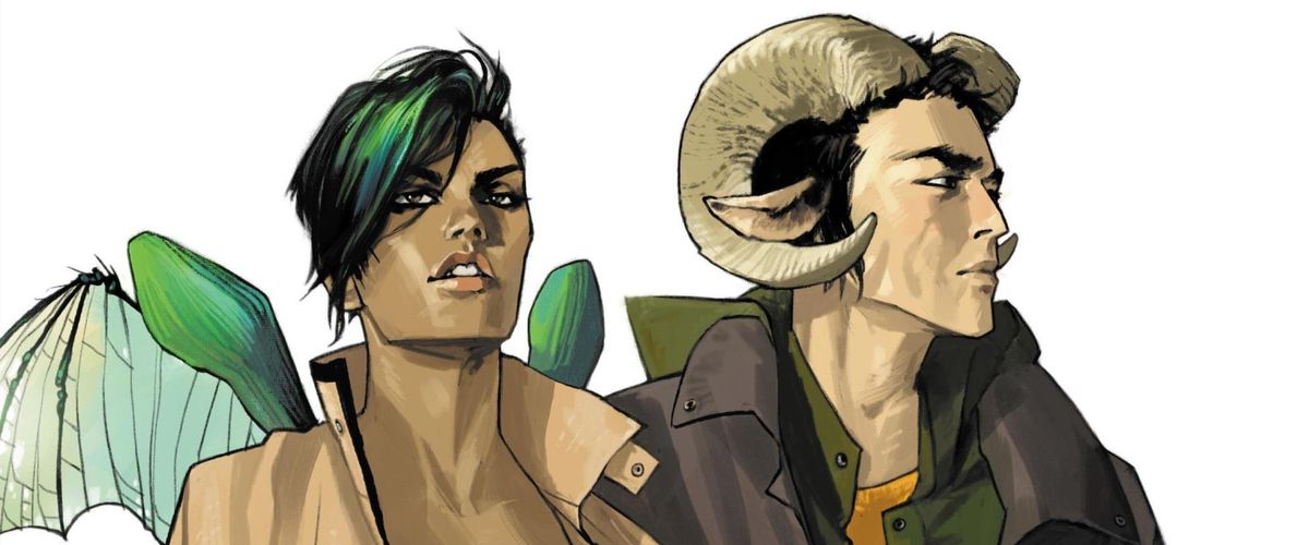 Alana and Marko, the adult leads of Saga. Alana has brown skin and translucent, green insectoid wings, while Marko has the pointed ears and curling horns of a mountain ram. From the cover of Saga #1, Image Comics (2012).