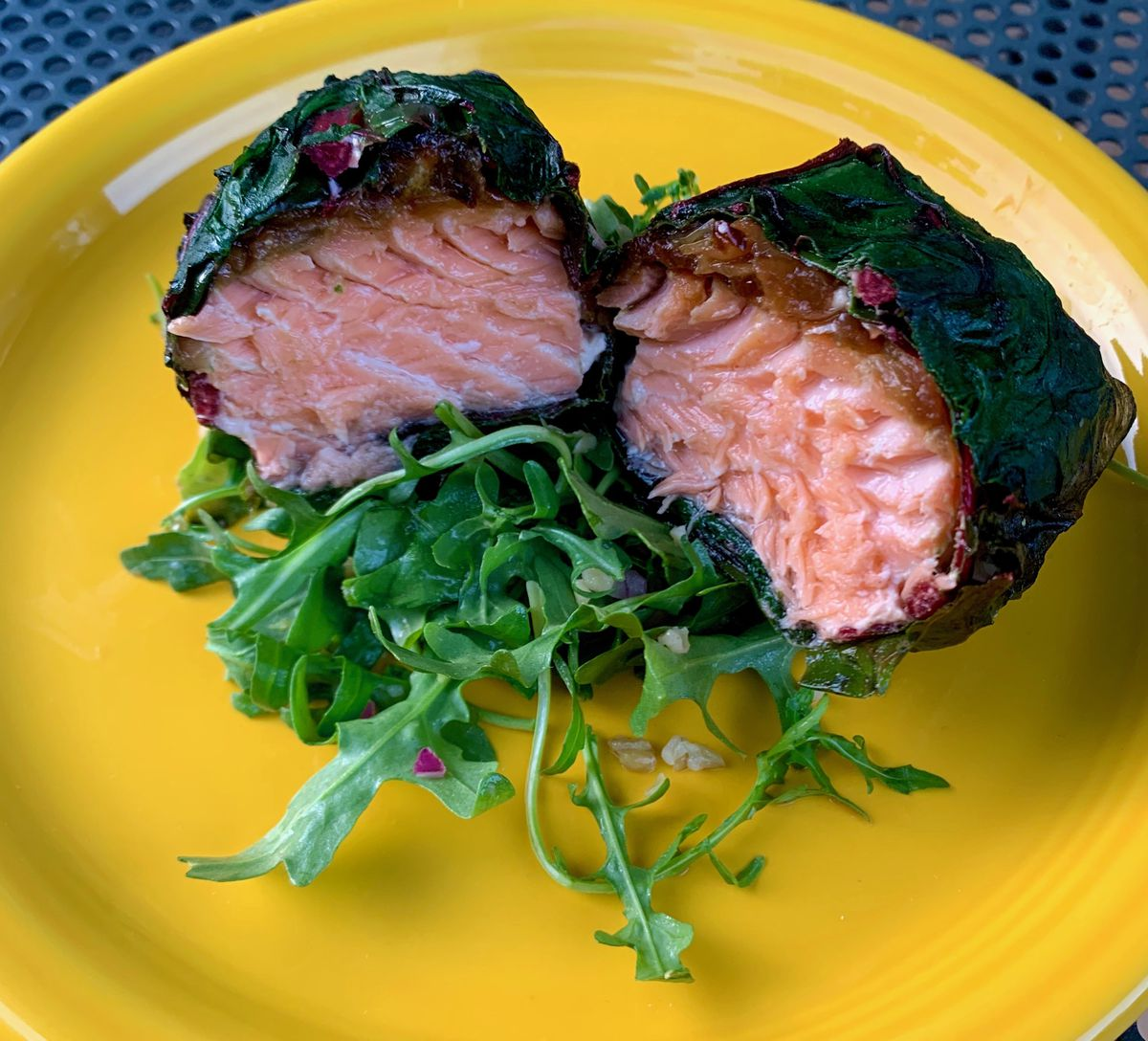 Chard wrapped salmon from Shuk