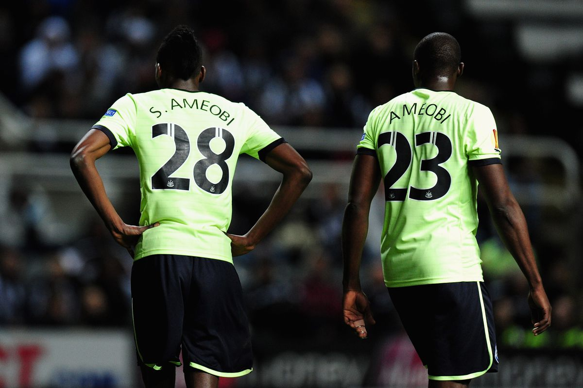 Brothers do battle: Shola and Sammy Ameobi could line up on opposing sides for the first time tomorrow