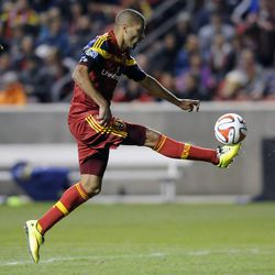 Real Salt Lake forward Alvaro Saborio (15) scores his second goal of the game against the Toronto FC at Rio Tinto Stadium in Sandy on Saturday, March 29, 2014.