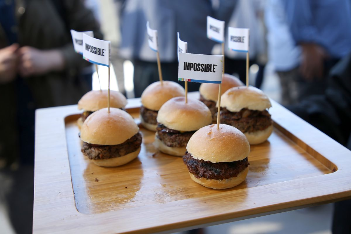 Impossible burgers on display at WIRED25, October 14, 2018.