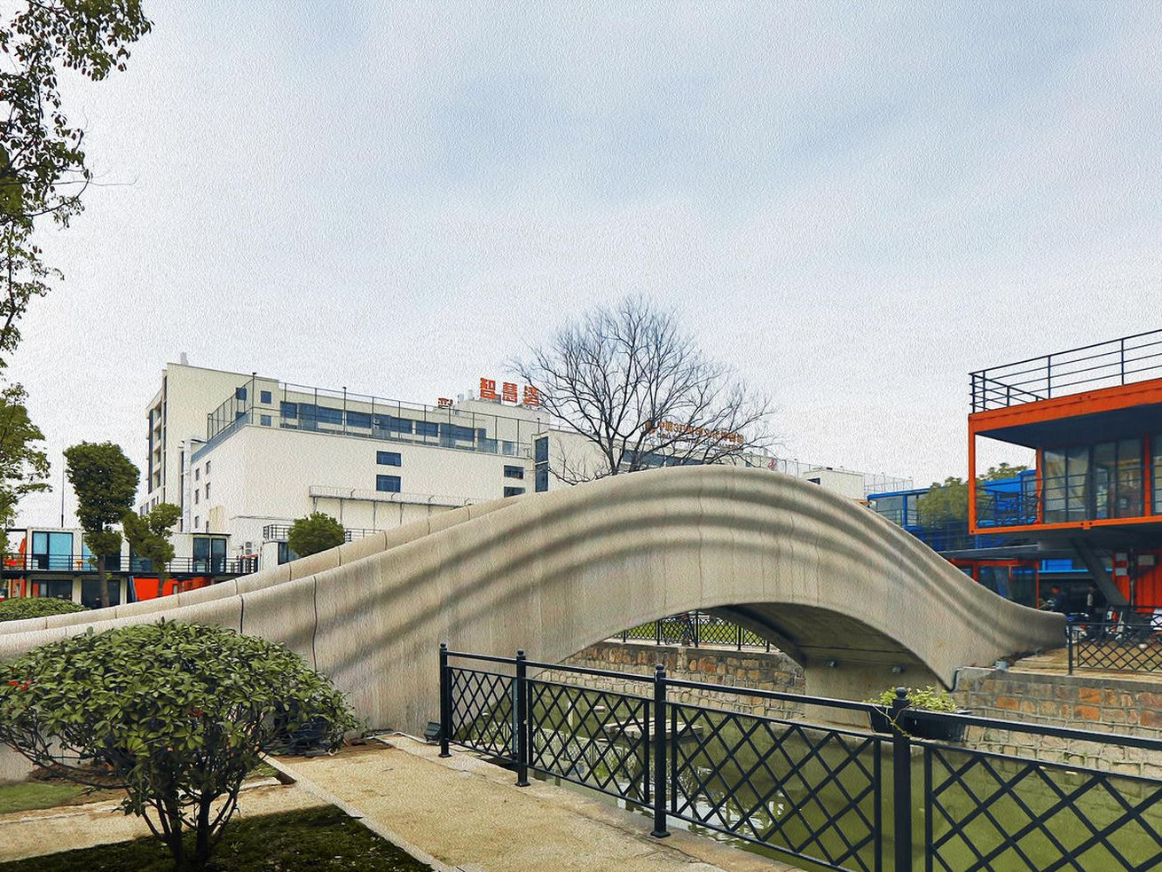 Curvy 3D-printed concrete bridge debuts in Shanghai