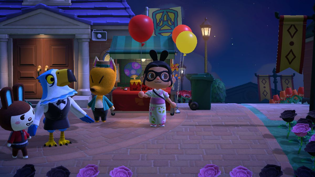 An Animal Crossing character holds a Red Balloon