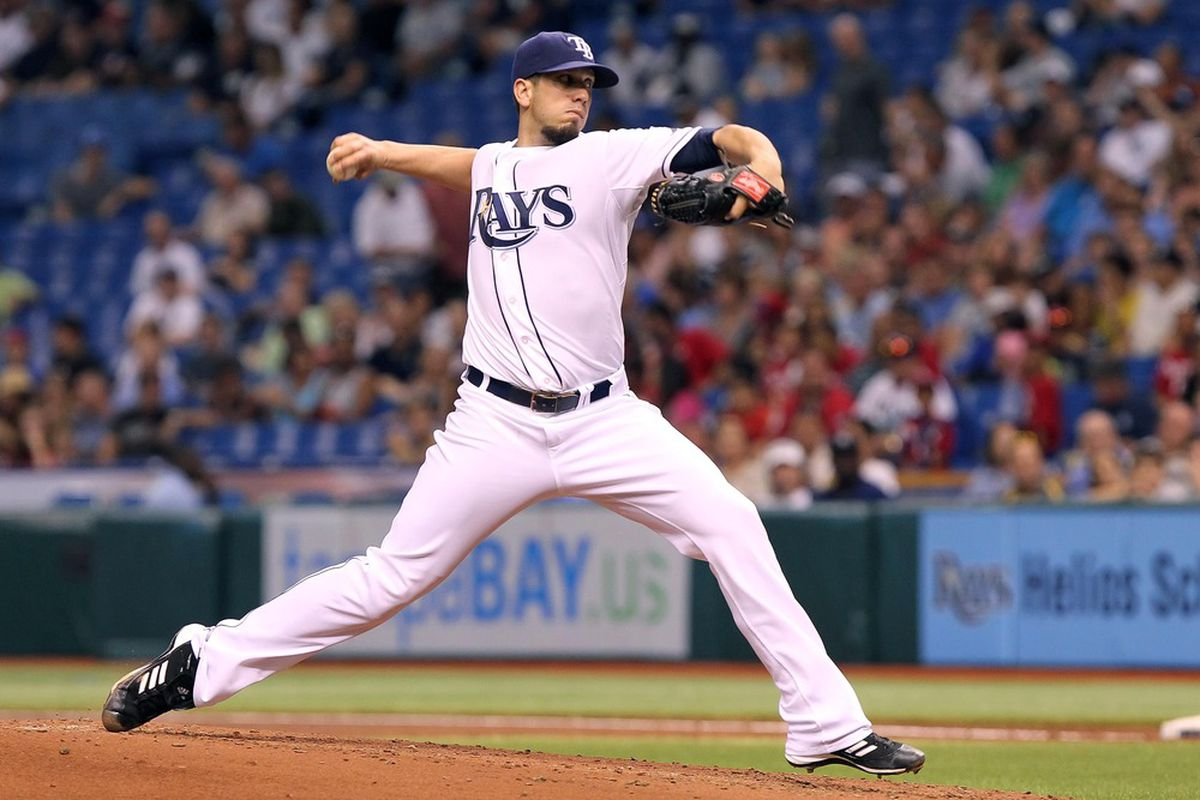 July 3, 2012; St. Petersburg, FL, USA; Tampa Bay Rays starting pitcher James Shields (33) throws a pitch in the second inning against the New York Yankees at Tropicana Field. Mandatory Credit: Kim Klement-US PRESSWIRE