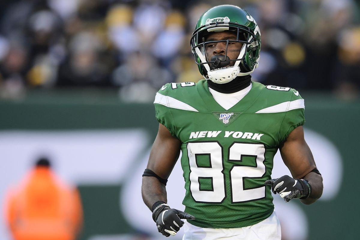 Jamison Crowder #82 of the New York Jets looks on against the Pittsburgh Steelers at MetLife Stadium on December 22, 2019 in East Rutherford, New Jersey.