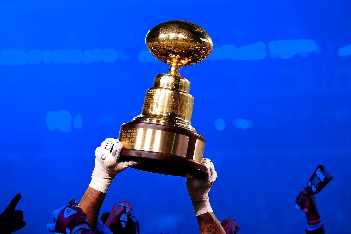 The Egg Bowl trophy for Mississippi State vs. Ole Miss