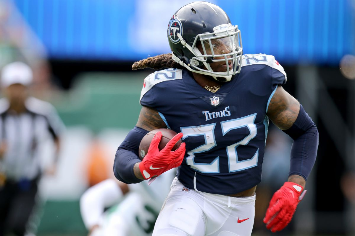 Derrick Henry, of the Tennessee Titans, runs against the New York Jets, Sunday, October 3, 2021. Nfl Week 4 Jets V Titans