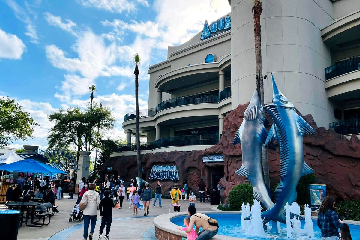 The exterior of Downtown Aquarium, an entertainment venue and restaurant in Houston