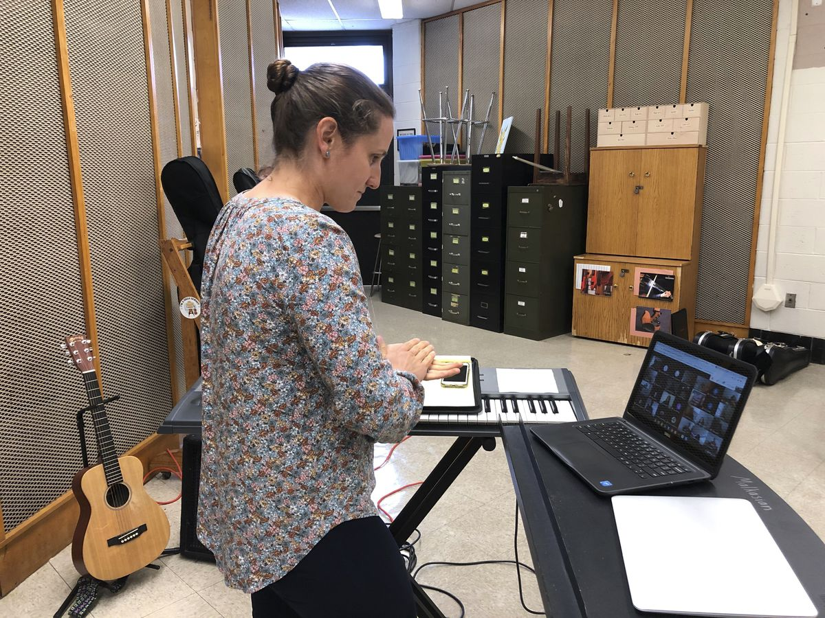 Jemma Malkasian teaches a virtual music class at Norristown Area High School, in Norristown, Pa.