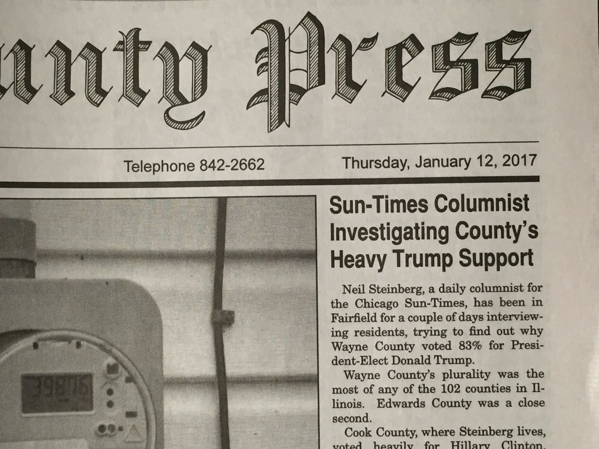 The Sun-Times visit in early 2017 was front page news in Fairfield.