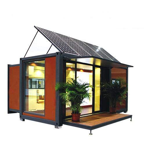 small shipping container house with solar panels up top