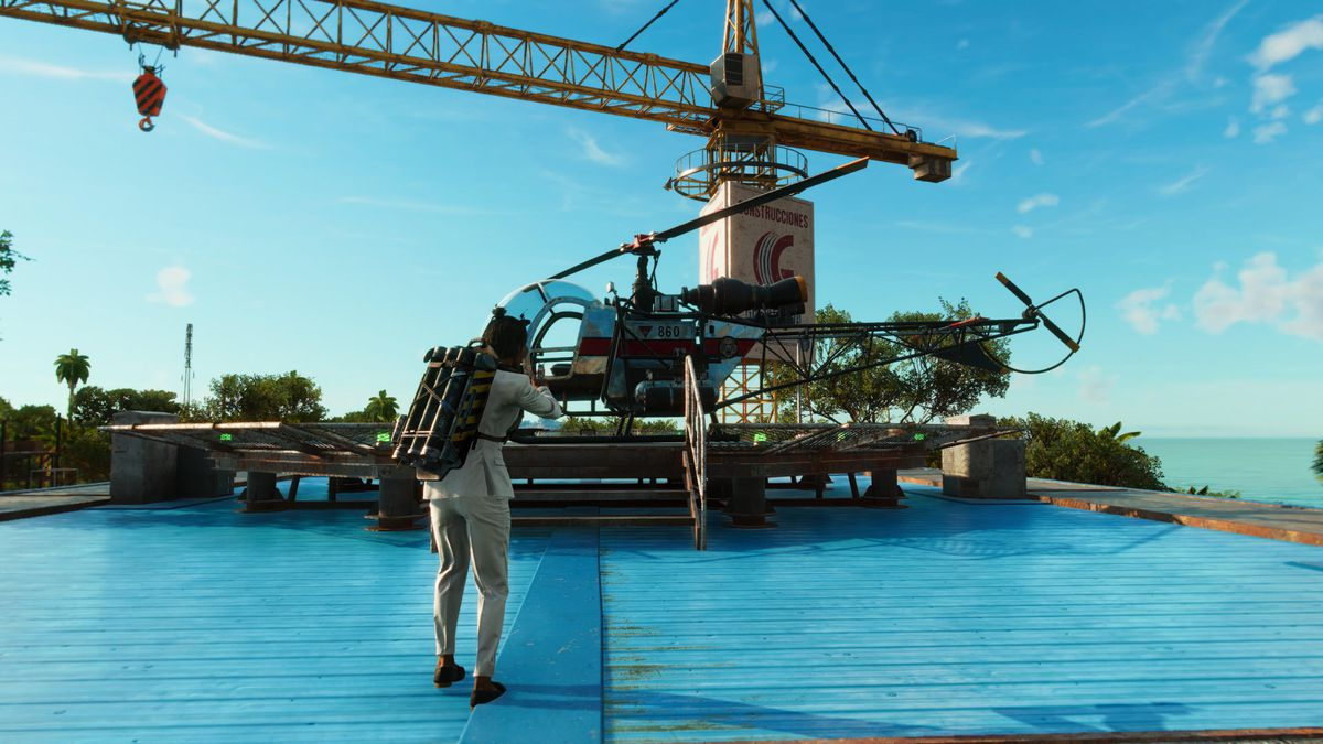 A helicopter on a landing pad in Far Cry 6