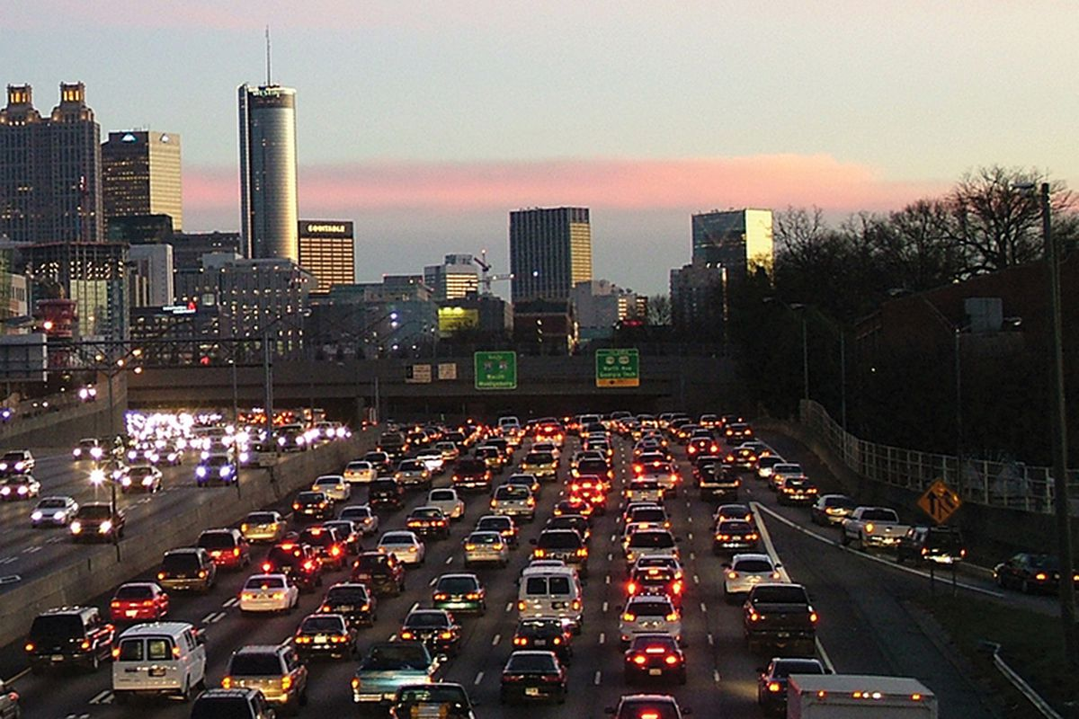 A photo of bad traffic in downtown Atlanta at evening.