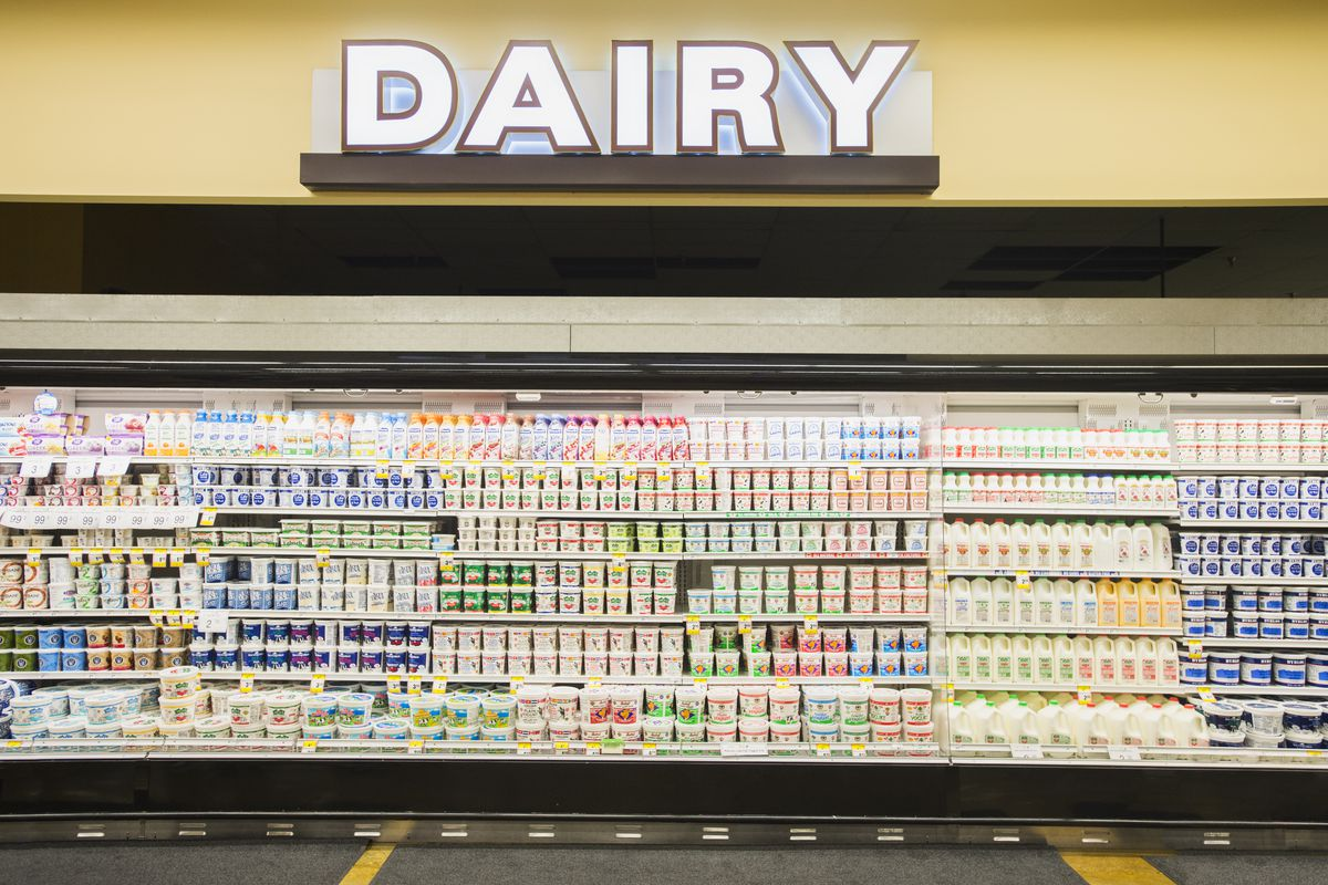 A sea of options in the dairy aisle at a grocery store.