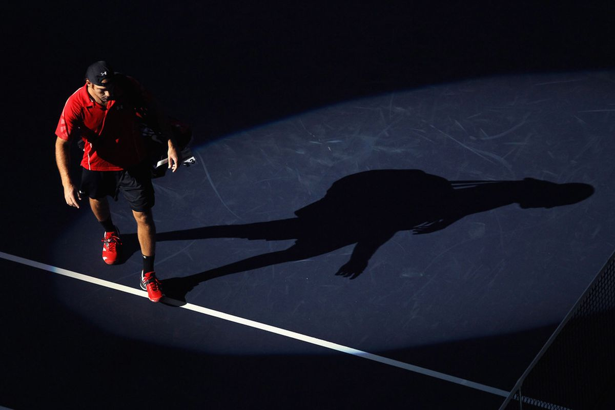 SAN JOSE, CA - FEBRUARY 16:  Robby Ginepri walks on to the court for his match against Ryan Harrison during day four of the SAP Open at HP Pavilion on February 16, 2012 in San Jose, California.  (Photo by Ezra Shaw/Getty Images)