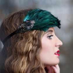 """<a href=""""https://www.etsy.com/listing/171092391/sale-1920s-headpiece-emerald-green"""">AdorningBeautyCo flapper headpiece via etsy</a>, $30. <br>Consider using green accessories to pay homage to the green Gatsby theme and open up your dress options to inclu"""