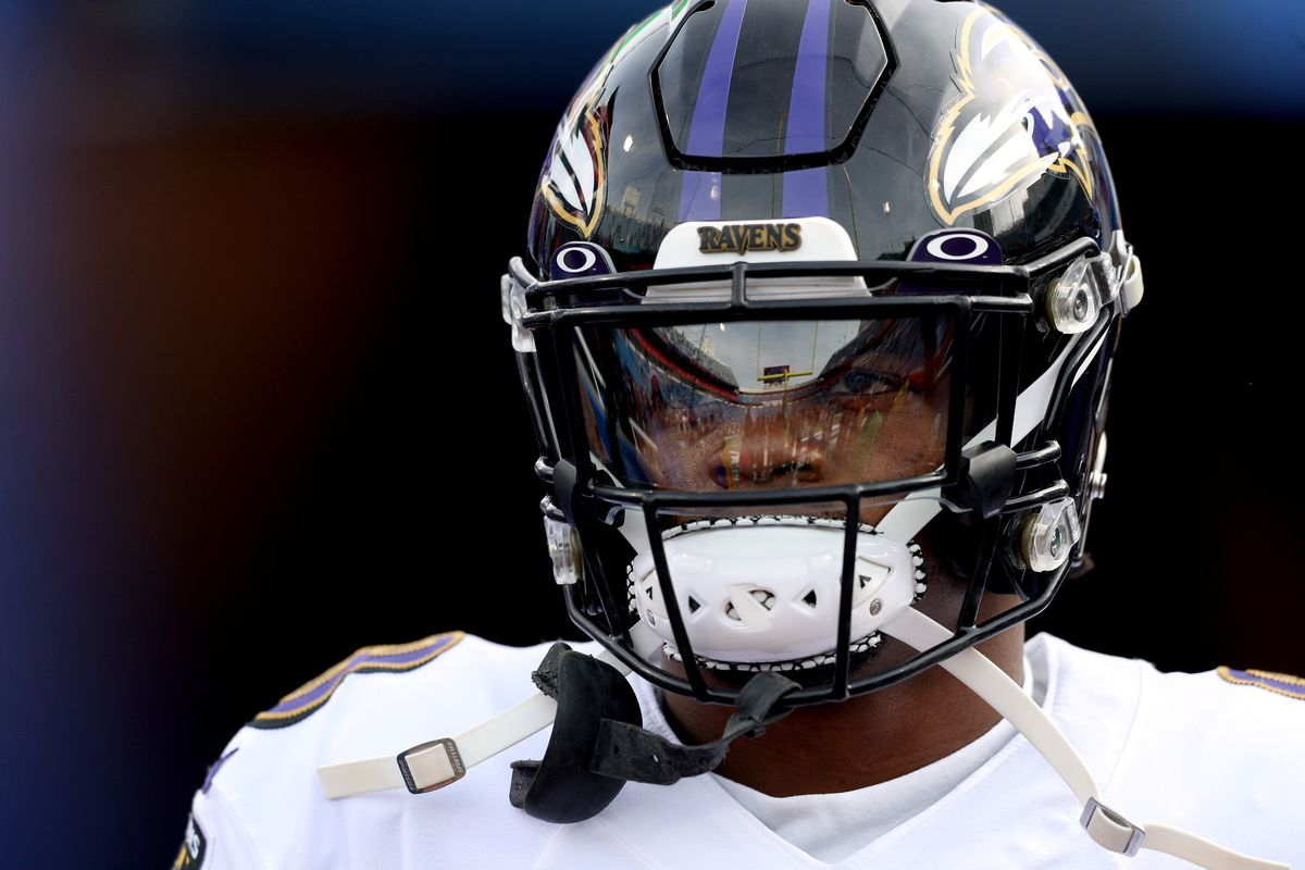 Baltimore Ravens QB Lamar Jackson before an NFL game against the Buffalo Bills in Week 14, Dec. 8, 2019.