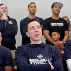 Utah State forward Justin Bean, center, and his teammates wait on the announcement of the Aggies' opponent in the NCAA Tournament on March 17, 2019, in Logan.