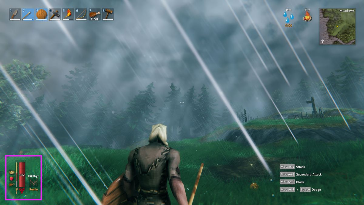 The food slot screen in Valheim