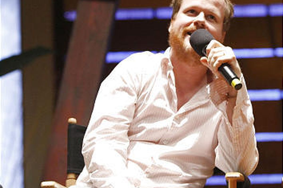 """Joss Whedon answers questions from television critics on the set of """"Dollhouse."""""""