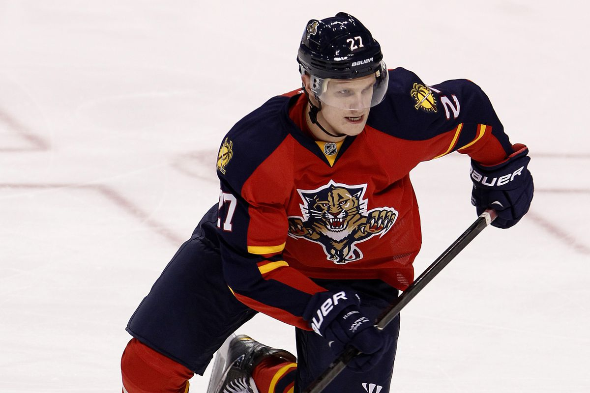 Nick Bjugstad notched a hat trick against the Bruins during a rookie tournament game.