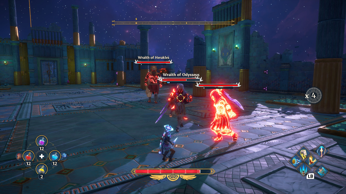 The hero of Immortals Fenyx Rising fights three large enemies