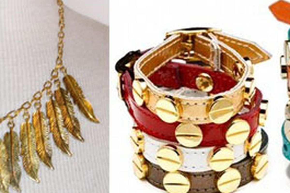 Fancy some new jewelry? At left, Jenny Dayco necklace; right, CC Skye bangles.