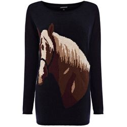 """<b>Warehouse</b> Horse Jumper, <a href=""""http://warehouse.andotherbrands.com/HORSE-SWEATER/fashion/warehouse/fcp-product/WHS_6353049936?lng=en-US&ctry=US&gclid=CL68uOS8oLQCFQSf4AodtmoAZQ"""">$80</a>"""