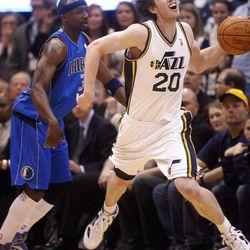 Utah Jazz guard Gordon Hayward (20) is fouled by Dallas Mavericks guard Jason Terry (31) as the Utah Jazz and the Dallas Mavericks play Monday, April 16, 2012 in Salt Lake City.
