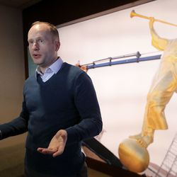 Tanner Kay, Temple Square guest experience manager, talks about upcoming changes for visitors to Temple Square when the Salt Lake Temple closes for renovations, at the Temple Square South Visitors' Center in Salt Lake City, Wednesday, Dec. 4, 2019.