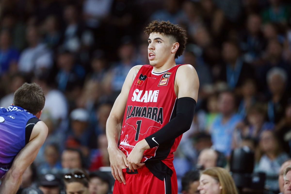 LaMelo Ball of the Hawks reacts during the round 9 NBL match between the New Zealand Breakers and the Illawarra Hawks at Spark Arena on November 30, 2019 in Auckland, New Zealand.