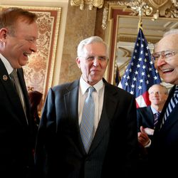 Sen. Jim Dabakis, D-Salt Lake City, left, Elder D. Todd Christofferson and Elder L. Tom Perry, members of the Quorum of the Twelve Apostles of The Church of Jesus Christ of Latter-day Saints, greet one another before an announcement of a historic piece of legislation that will protect Utah's lesbian, gay, bisexual and transgender community from discrimination in housing and employment while maintaining equal protection for the expression of religious beliefs at the Capitol in Salt Lake City, Wednesday, March 4, 2015.