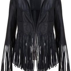 Fringe Leather Jacket, $370