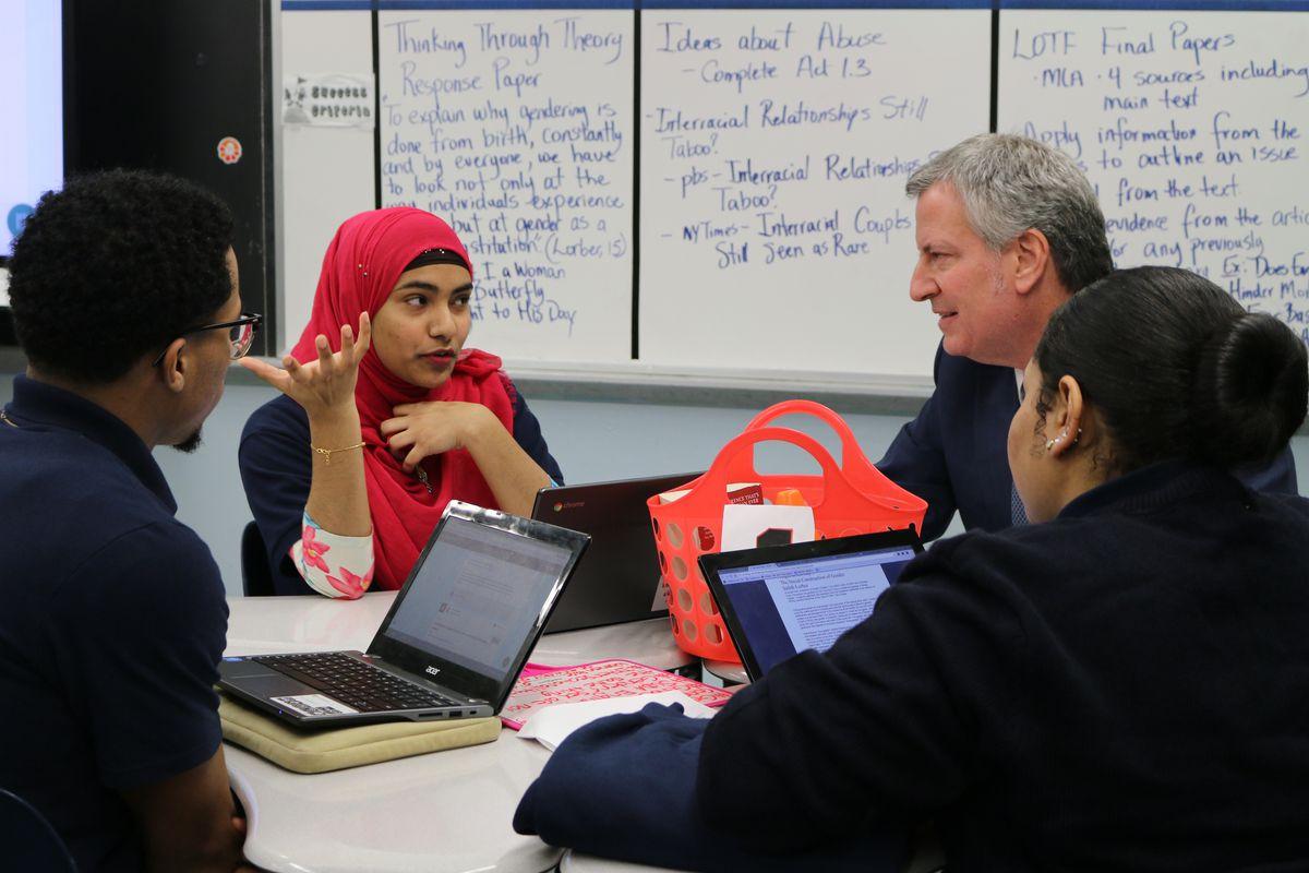 Mayor Bill de Blasio met with students from South Bronx Preparatory in Feb. 2018.