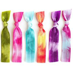 """Mane Message Tie-Dye Hair Ties: $10.50 for set of six at <a href=""""http://www.manemessage.com/collections/tie-dye-hair-ties/products/the-boho-package"""">Mane Message</a>"""