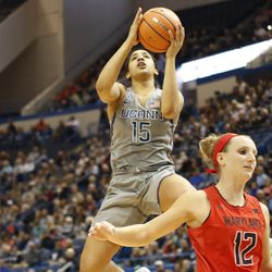 UConn's Gabby Williams (15) goes in strong for a layup at the XL Center in Hartford, CT on November 19, 2017.