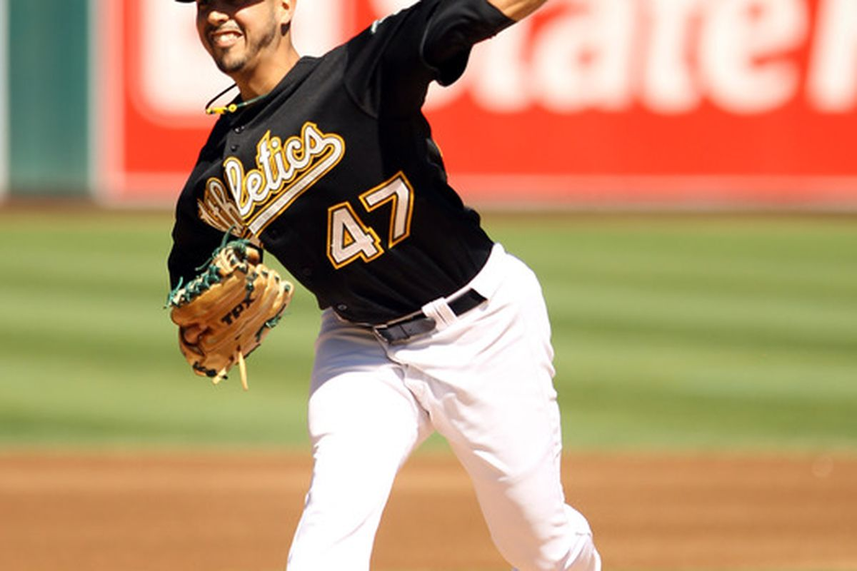 OAKLAND CA - SEPTEMBER 25:  Gio Gonzalez #47 of the Oakland Athletics pitches against the Texas Rangers  at the Oakland-Alameda County Coliseum on September 25 2010 in Oakland California.  (Photo by Ezra Shaw/Getty Images)
