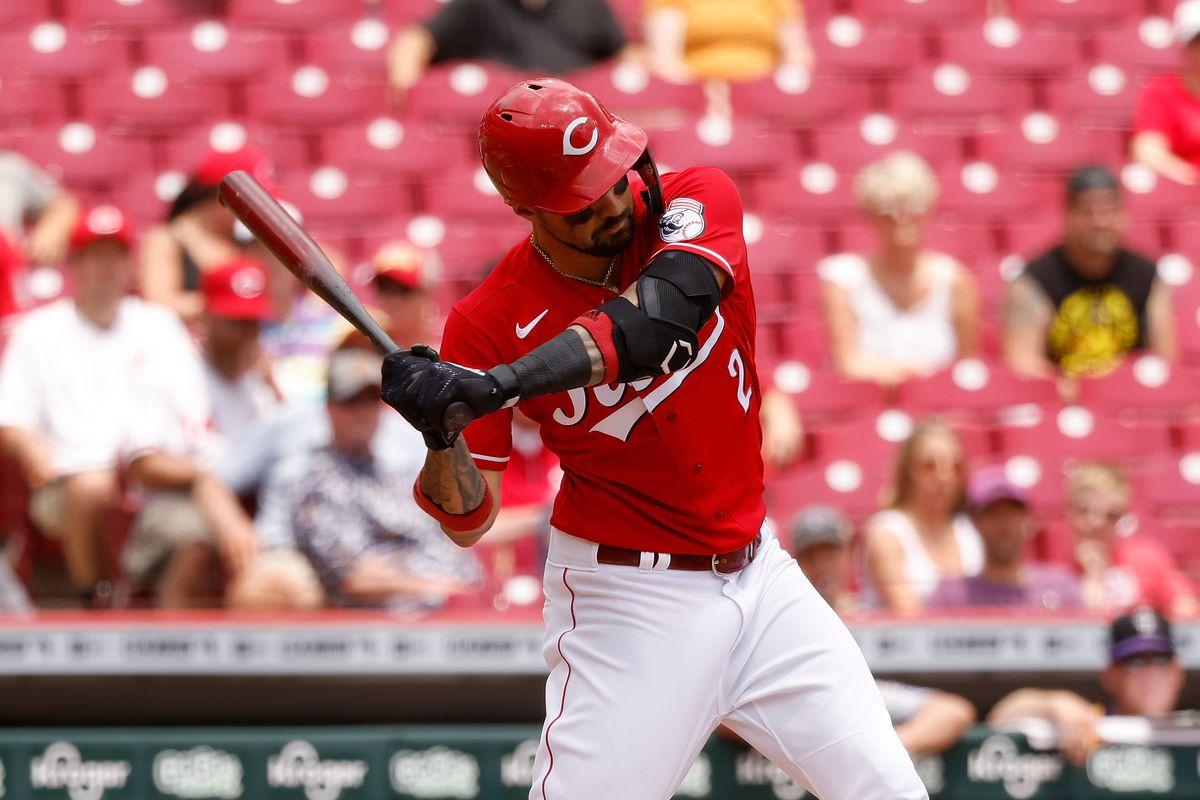 Nick Castellanos of the Cincinnati Reds bats during the game against the Colorado Rockies at Great American Ball Park on June 13, 2021 in Cincinnati, Ohio.