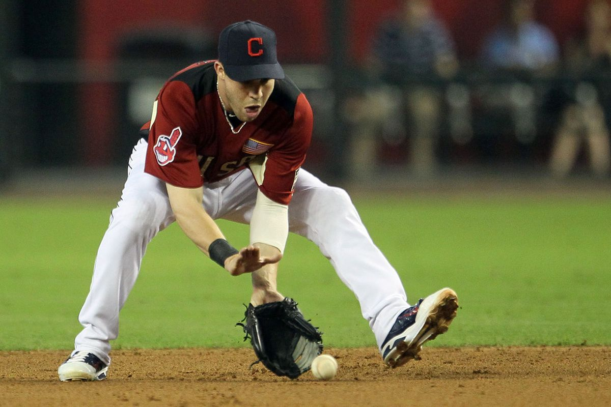 PHOENIX, AZ - JULY 10:  U.S. Futures All-Star Jason Kipnis #9 of the Cleveland Indians fields a ground ball during the 2011 XM All-Star Futures Game at Chase Field on July 10, 2011 in Phoenix, Arizona.  (Photo by Jeff Gross/Getty Images)