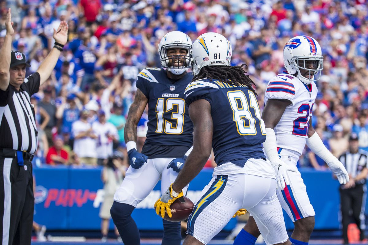 Vontae Davis of the Buffalo Bills walks away after attempting to stop a touchdown reception by Mike Williams of the Los Angeles Chargers at New Era Field on September 16, 2018 in Orchard Park, New York.