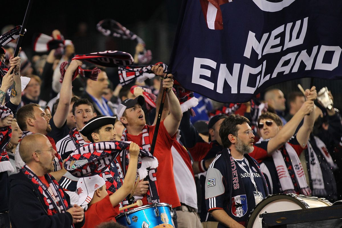 FOXBORO, MA - MAY 7: Fans react during a game between New England Revolution and the Colorado Rapids at Gillette Stadium on May 7, 2011 in Foxboro, Massachusetts. (Photo by Jim Rogash/Getty Images)