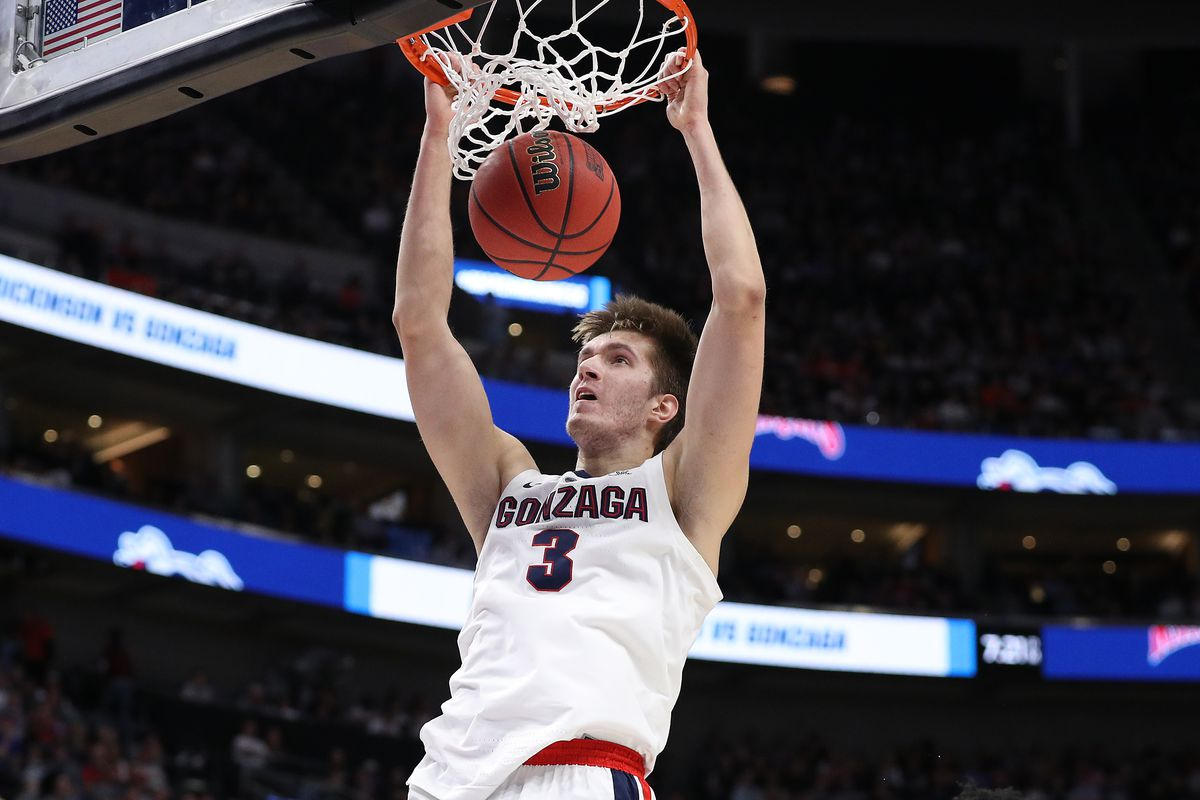 Filip Petrusev of the Gonzaga Bulldogs dunks against the Fairleigh Dickinson Knights during the second half in the first round of the 2019 NCAA Men's Basketball Tournament at Vivint Smart Home Arena on March 21, 2019 in Salt Lake City, Utah.