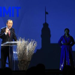 United Nations Secretary General Ban Ki-moon, delivers a speech at the opening ceremony of the World Humanitarian Summit, in Istanbul, Monday, May 23, 2016. World leaders and representatives of humanitarian organisations from across the globe converge in Istanbul on May 23-24, 2016 for the first World Humanitarian Summit, focused on how to reform a system many judge broken.