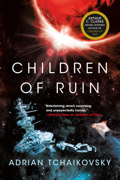 Children of Ruin by Adrian Tchaikovsky cover has a space station and a manta ray flying through space
