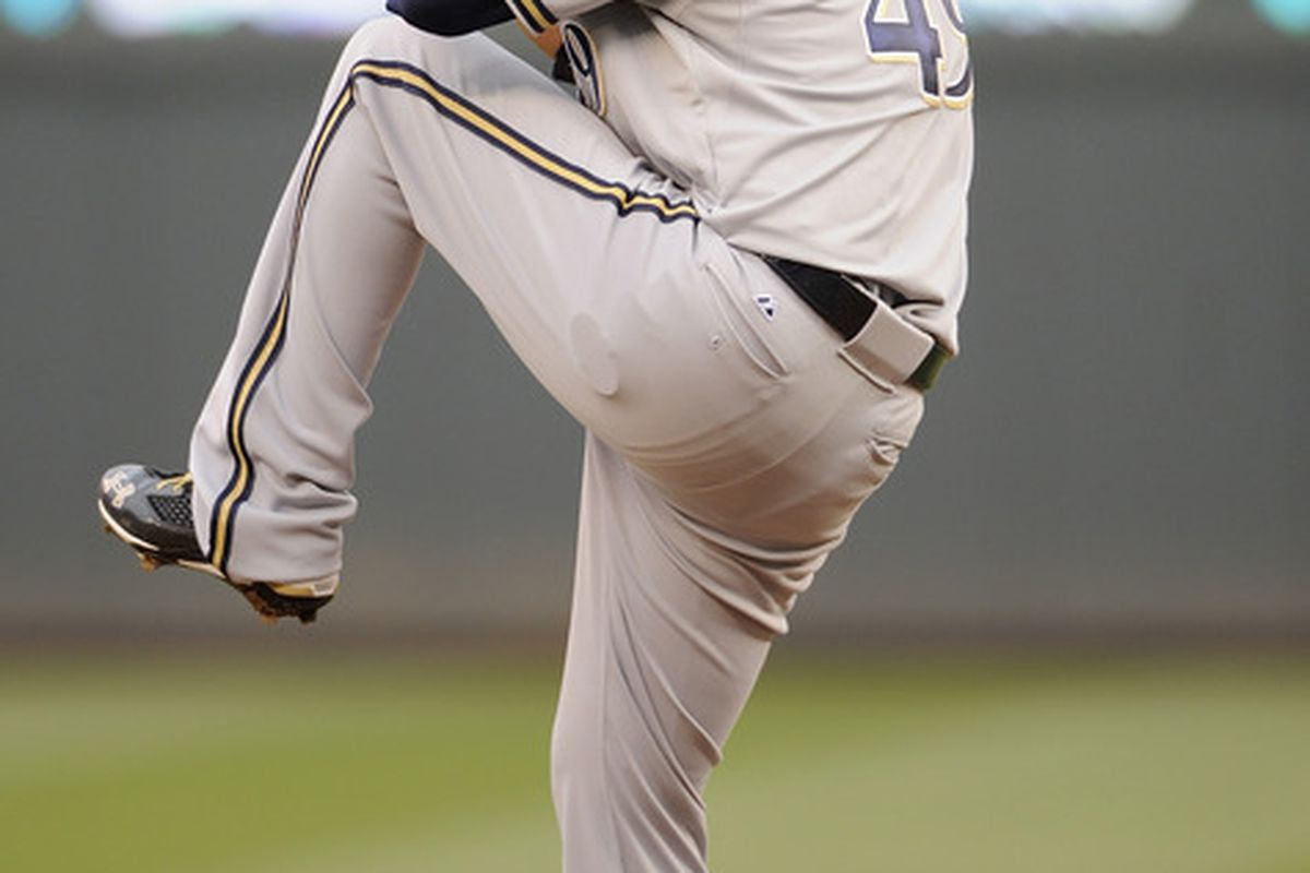 MINNEAPOLIS, MN - JUNE 15: Yovani Gallardo #49 of the Milwaukee Brewers delivers a pitch against the Minnesota Twins in the second inning on June 15, 2012 at Target Field in Minneapolis, Minnesota. (Photo by Hannah Foslien/Getty Images)