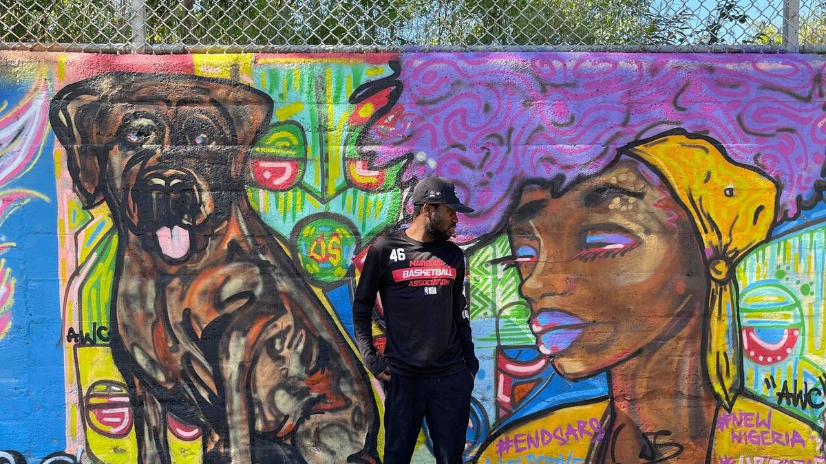 Artist Uprizn Ikpemi has made his dogs a signature element in the murals he's painted around Chicago.