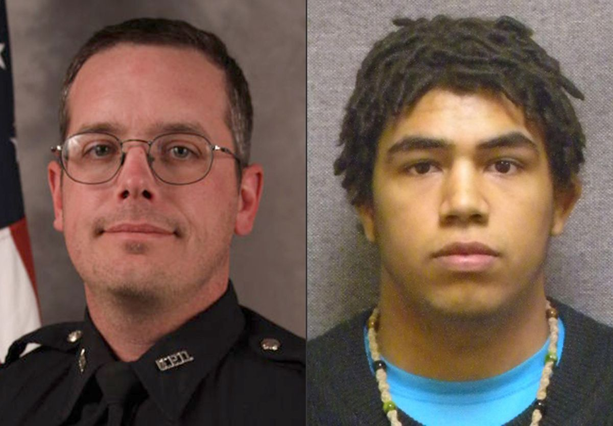 <small><strong>This combination made with file photos provided by the Madison, Wis. police department and Wisconsin Department of Corrections shows Madison Police officer Matt Kenny, left, and Tony Robinson, a biracial man who was killed by the officer.</
