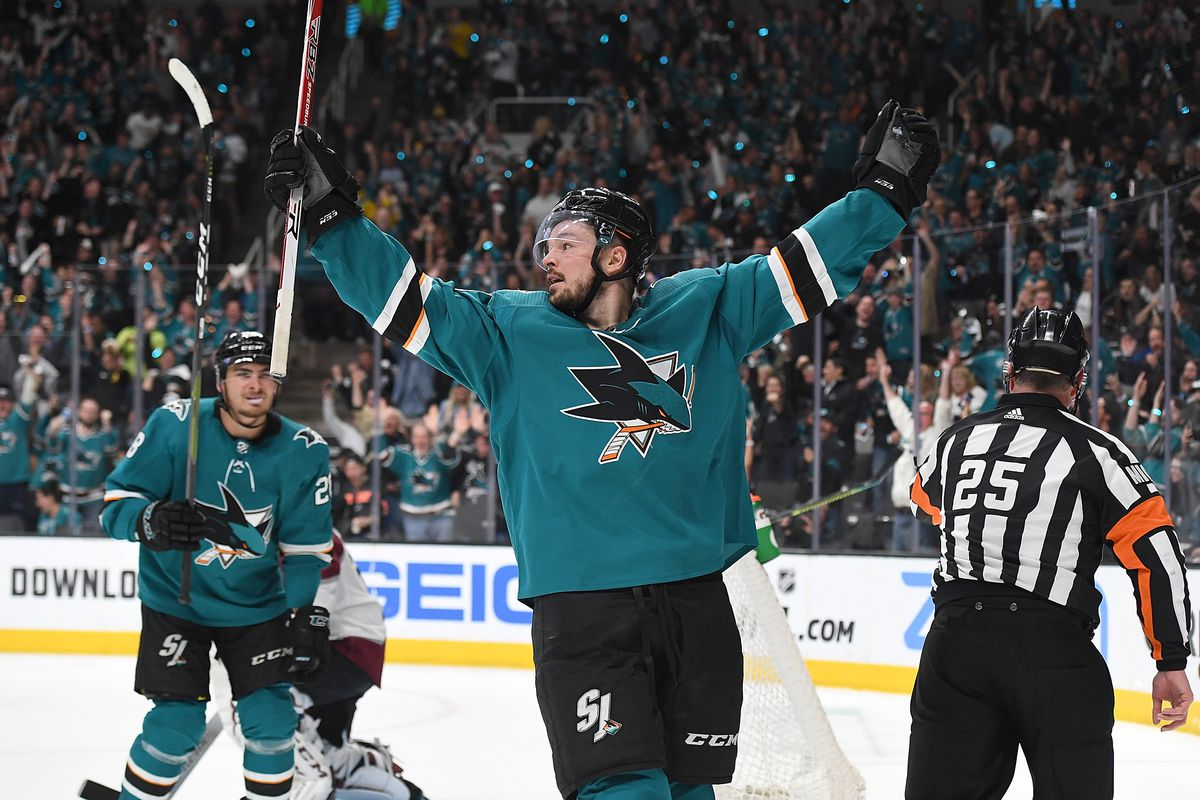 Tomas Hertl of the San Jose Sharks celebrates after scoing a goal against the Colorado Avalanche during the second period in Game 5 of the Western Conference Second Round during the 2019 NHL Stanley Cup Playoffs at SAP Center on May 4, 2019 in San Jose, C